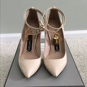 Authentic Tom Ford Nude Padlock Pumps Sz 36.5